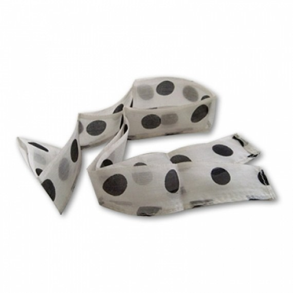 Thumb Tip Streamer(Polka Dots - Black dots on White)